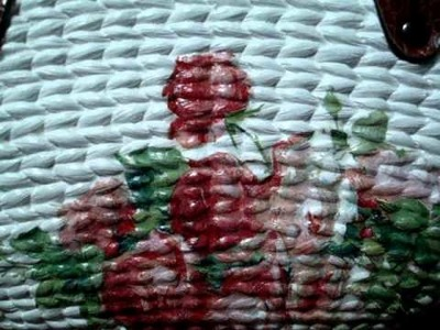 Napkin Decoupage Rose and Lace Bag
