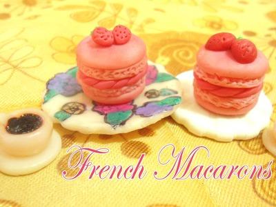 Strawberry French Macarons Polymer clay Tutorial - Macarons de Fresa Porcelana fría