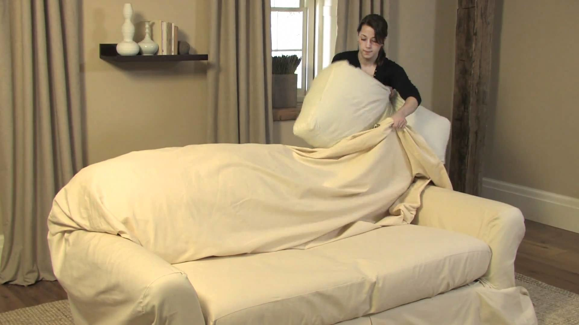 How to Drape a Loose-Fit Separate Seat Sofa Slipcover   Pottery Barn