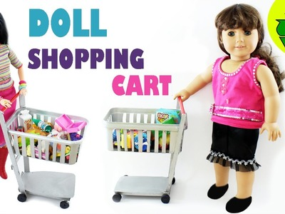 How to make a FUNCTIONAL doll shopping cart - Easy Doll Crafts