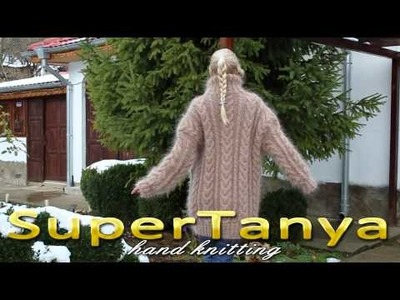 05.12.2012 Beige cable decorated hand knitted mohair cardigan by SuperTanya