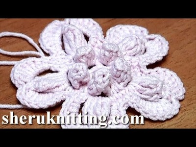 Crochet Flower With Popcorn Stitches Tutorial 2 como hacer una flor de ganchillo