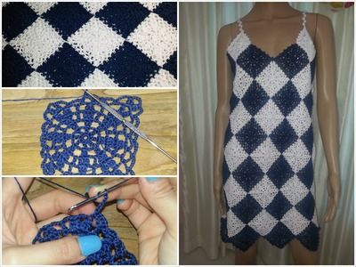 Crochet granny square dress tutorial part 2 of 3(Granny Square Pattern #2)
