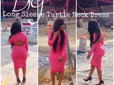 DIY: Long Sleeve Turtle Neck Dress w. Cut Outs