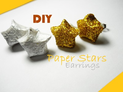 DIY Paper Stars Earrings ✰ Orecchini di Carta a forma di Stellina ✮ Tutorial (Origami 3D)