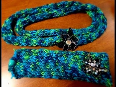 Loom Knitted Scarf And Headband Using Comb Without Crochet Needle