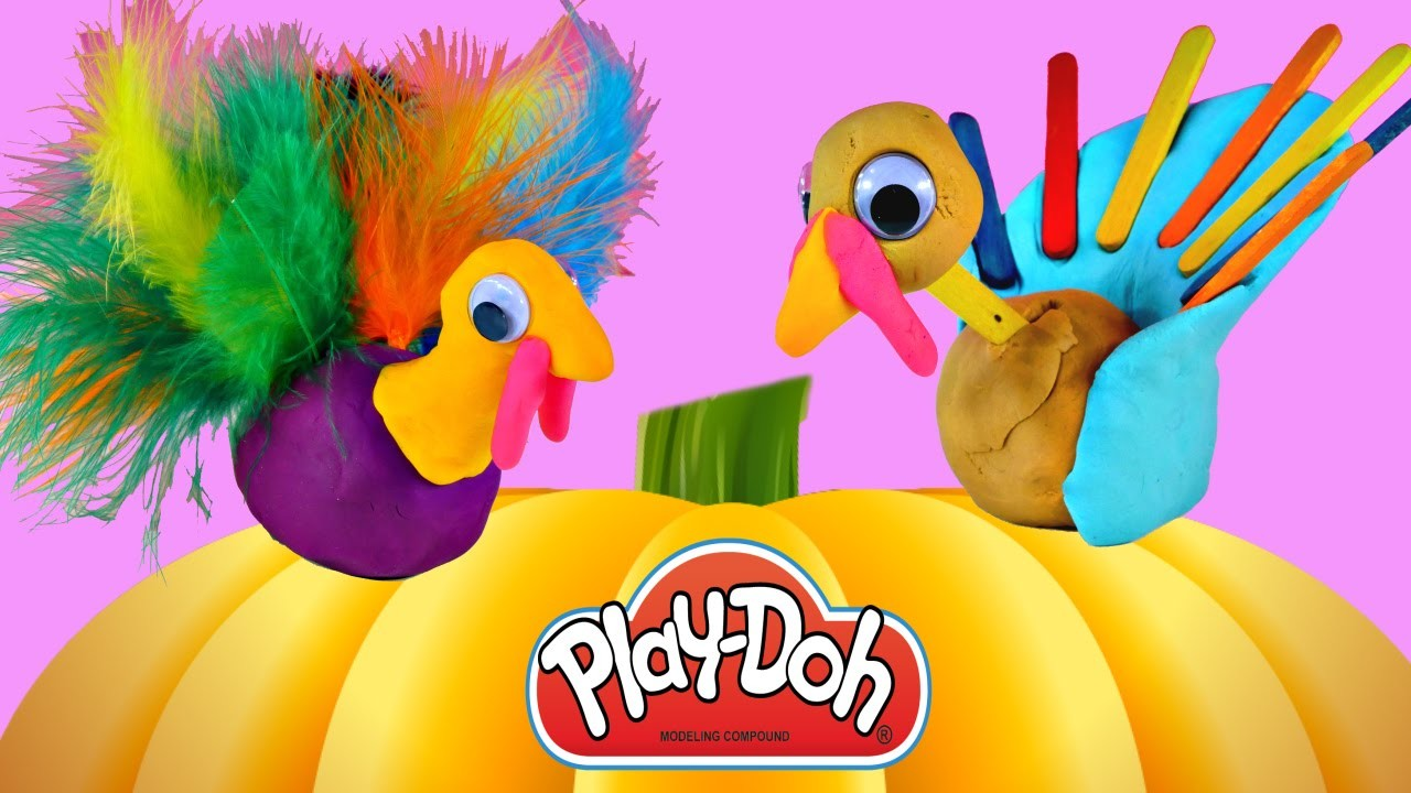 Making PLAY DOH Thanksgiving Turkeys - Playdough Holiday Crafts Do It Yourself Plastilina DCTC