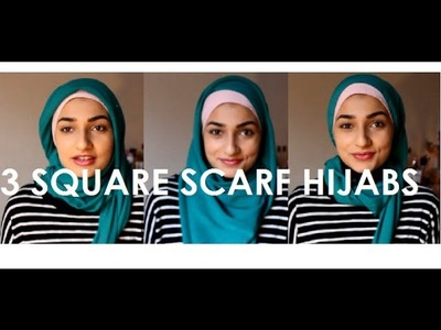 3 HIJAB TUTORIALS WITH A SQUARE SCARF (remade)| MISSBAK96