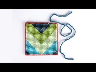Cross Stitch For Beginners: Trendy Chevron Coasters