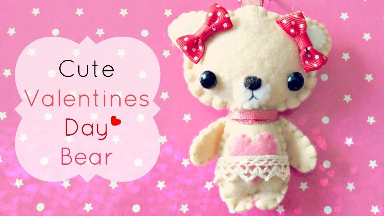 Cute Felt Valentines Day Bear Tutorial ♥