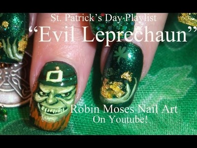 Nail art Tutorial | Saint Paddy's Day Nails | St. Patricks Day Evil Leprechaun Design