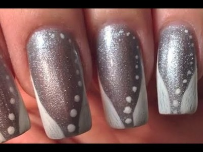 Request: Nail Art Tutorial silver glitter with very quick & simple white French Art Design
