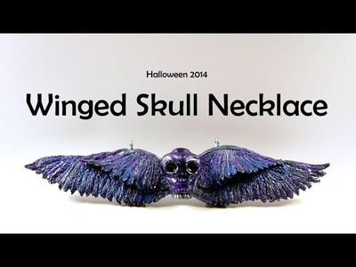 Halloween: Winged Skull Necklace - polymer clay TUTORIAL