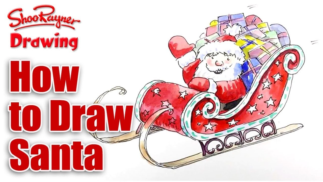 How to draw Santa's Sleigh for Christmas