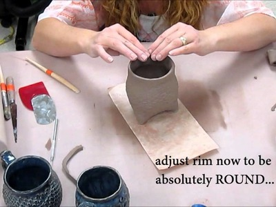 How to make a Tripod Textured Slab Cup!  (Ceramics II classes)
