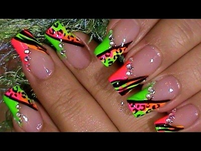 Bright Neon Animal Print PARTY NAILS !!!