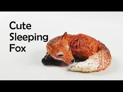 Cute sleeping fox - polymer clay TUTORIAL (what does the fox say!)