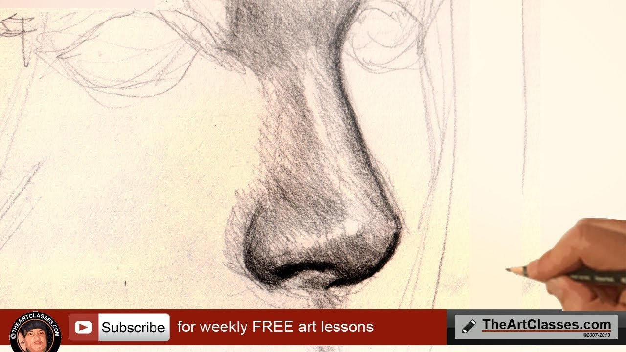 How to draw nose for realistic portrait