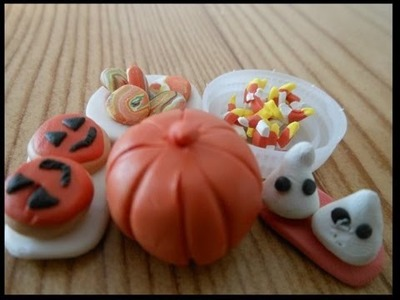 How to make doll Halloween treats:food miniature, polymer clay, pumpkin, candy