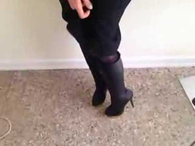 How to Wear Knee High Boots with Lavender and Black
