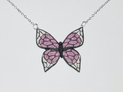 Polymer Clay Butterfly Pendant Necklace