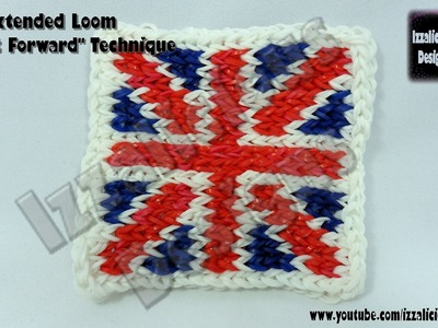 """Rainbow Loom Union Jack (Flag of the UK) Mural using extended loom (2) """"Move It Forward"""" Technique"""