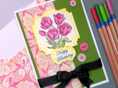 Tulip Happy Birthday Card with Cheap Watercolor Pencils & Paper!
