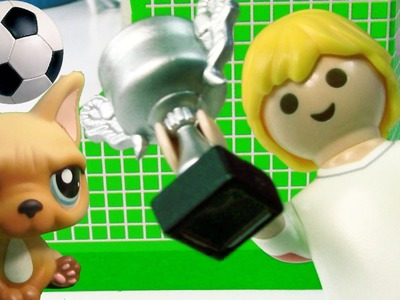 World Cup Pup Littlest Pet Shop LPS Playmobil Soccer ball Football Player Toy Review Opening