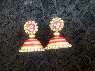 Paper Quilling Jhumka with stones -  new design