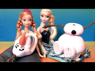 Do you wanna Build a Snowman Olaf with Princess Anna Elsa dolls Disney Frozen Film