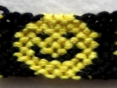 ► Friendship Bracelet Tutorial - Intermediate - Smiley Faces Pattern