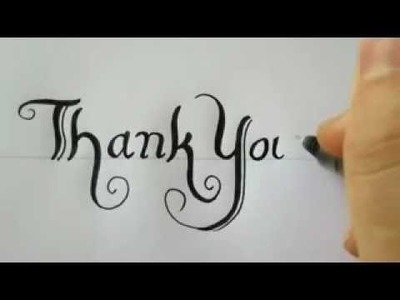 How To Draw THANK YOU With A Black Pen