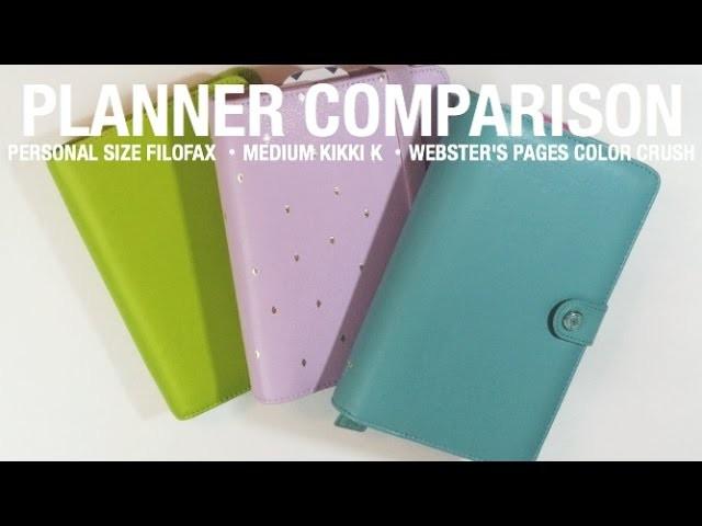Personal Planner Comparison. Kikki K Time Planner, Filofax Saffiano, Color Crush Planner