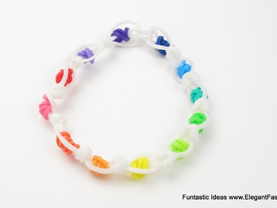Rainbow Dotted Bracelet - How to Rainbow Loom without Loom(Loomless)