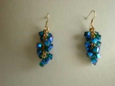Swarovski crystal EmeraldABX2 cluster style earrings