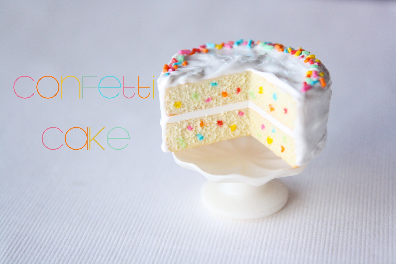 Confetti Cake : How To Make A Miniature Dollhouse Cake : Polymer Clay Tutorial