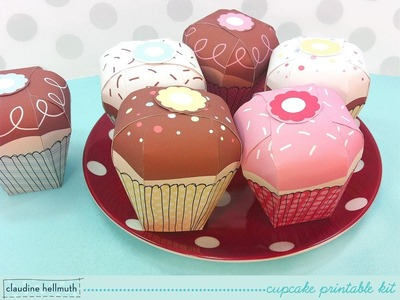 Make a paper cupcake party favor & gift boxes - printable kit