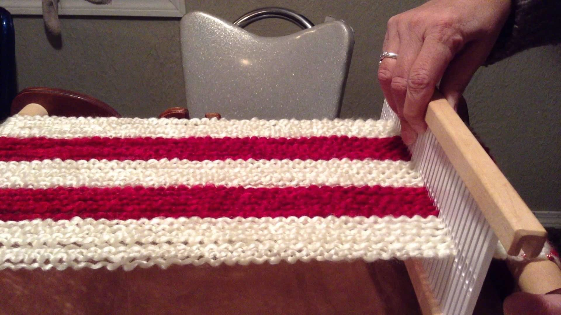 """Part 2 Candy Cane scarf on Schacht 10"""" Cricket loom."""