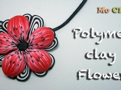 Polymer Clay. Fimo Flower tutorial - Pendant charm