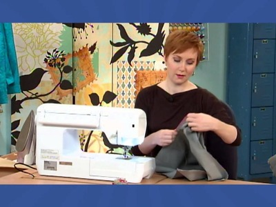 608-3 Sunni Standing demos a waistband for a pencil skirt created from ribbon on It's Sew Easy