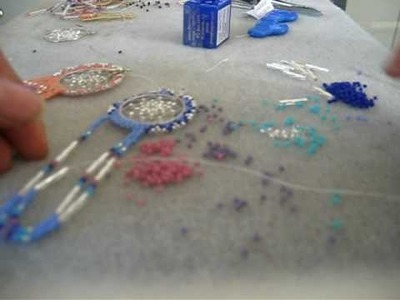 Adding the fringe to the dreamcatcher earring