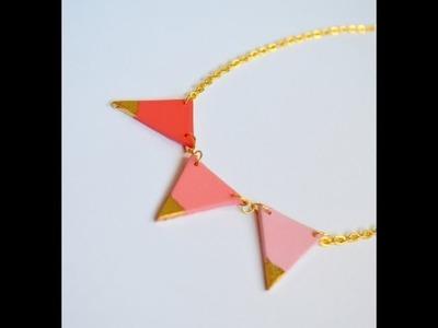 Collar banderines en arcilla polimérica - Polymer clay pennant necklace