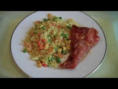 Cooking Egg, Prawn and Vegetable Fried Rice with Fish