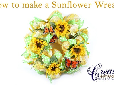 How to Make a Beautiful Sunflower Themed Wreath with Paper Mesh - Spring Wreath