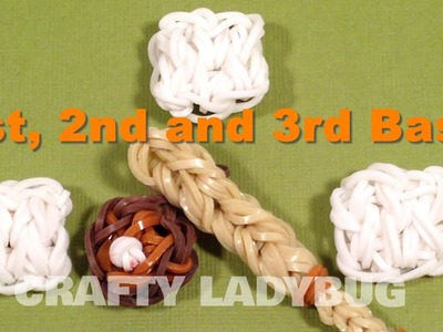 Rainbow Loom Bandz BASEBALL BASES CHARM How To Make Tutorial by Crafty Ladybug