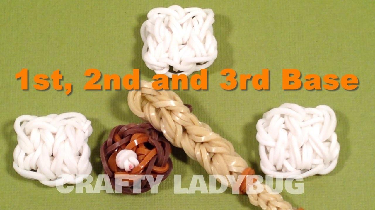 Rainbow Loom Bandz BASEBALL BASES CHARM How To Make Tutorial by Crafty Ladybug