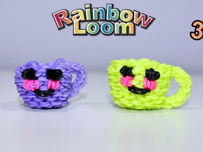 Tazzina Kawaii in 3-D con Elastici Rainbow Loom Happy Cup Tutorial♥