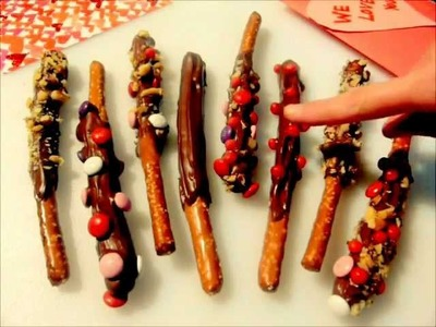 VALENTINE'S DAY dessert or treat - How to make CARAMEL & CHOCOLATE dipped PRETZEL RODS