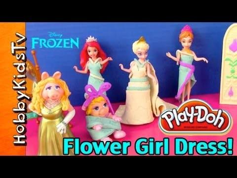 PLAY-DOH Frozen Flower Girl Dress Baby Piggy! Wedding Muppets Disney Princess by HobbyKidsTV