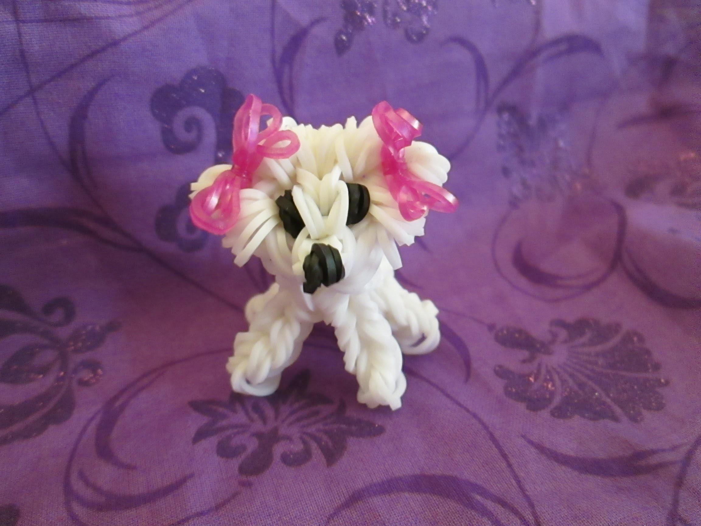 Rainbow Loom Bichon Frise Dog or Puppy Charm. 3-D CAGNOLINO.CANE 3D Con Elastici